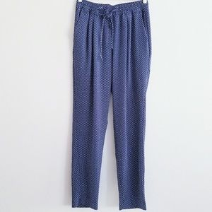 H&M Boho Harem Pants Blue White Flowers XS
